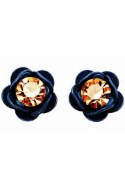 Michal Negrin Blue Gold Rose Stud Earrings
