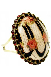 Michal Negrin Victorian Roses Cameo Garnet Ring