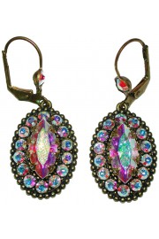 Michal Negrin Aurora Borealis Crystal Oval Earrings