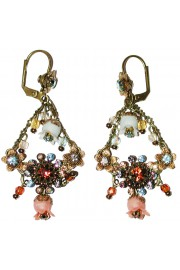 Michal Negrin Bronze Aqua Bells Crystal Earrings