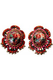 Michal Negrin Spanish Roses Cameo Clip Earrings