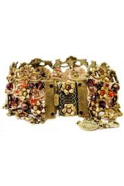 Michal Negrin Gold Bronze Garnet Crochet Bracelet