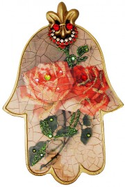 Michal Negrin Vintage Roses Large Wall Hamsa