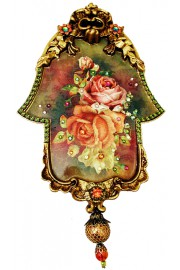 Michal Negrin Autumn Roses Ornate Wall Hamsa