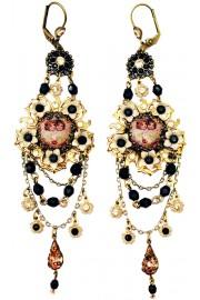Michal Negrin Cream Black Cherubs Cameo Earrings