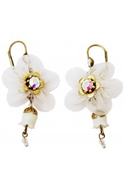 Michal Negrin White Fabric Flower Earrings