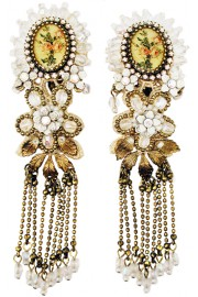 Michal Negrin White Roses Cameo Drop Earrings