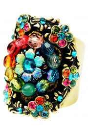 Michal Negrin Multicolor Floral Beads Cuff Ring