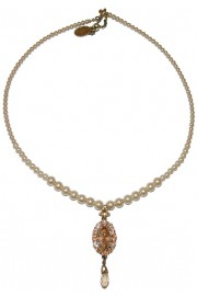 Michal Negrin Pearl Peach Oval Pendant Beaded Necklace