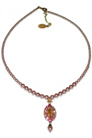 Michal Negrin Pink Lilac Peach Oval Pendant Beaded Necklace