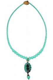 Michal Negrin Turquoise Oval Pendant Beaded Necklace