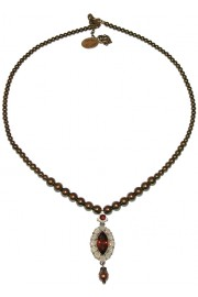 Michal Negrin Bronze Oval Pendant Beaded Necklace