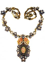 Michal Negrin Grey Peach Vintage Roses Necklace