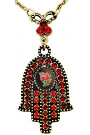 Michal Negrin Red Rose Cameo Hamsa Necklace