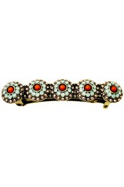 Michal Negrin Coral Mint Green Pearl Floral Hair Clip Barrette