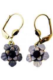 Michal Negrin Black Grey Flower Earrings