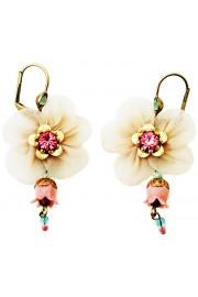 Michal Negrin Pink Fabric Flower Earrings
