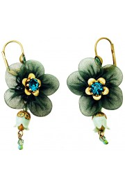 Michal Negrin Green Fabric Flower Earrings