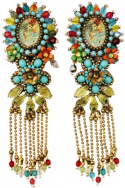 Michal Negrin Multicolor Beaded Cameo Lace Earrings