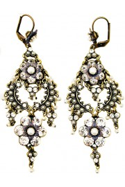 Michal Negrin Silver Pearl Drama Earrings