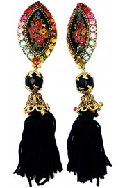 Michal Negrin Multicolor Cameo Tassels Clip Earrings