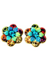 Michal Negrin Multicolor 70's Tiedye Crystal Flowers Stud Earrings
