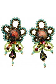 Michal Negrin Vintage Rose Cameo Beads Earrings