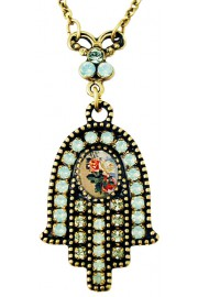 Michal Negrin Mint Green Roses Cameo Hamsa Necklace