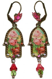 Michal Negrin Multicolor Roses Hamsa Earrings