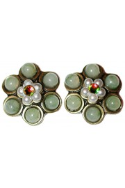 Michal Negrin Green Pearl Beads Stud Earrings