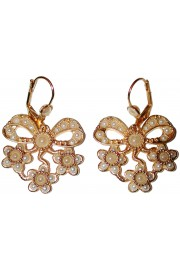 Michal Negrin Pearl Gold Bow Earrings