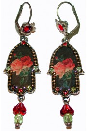 Michal Negrin Gothic Roses Hamsa Earrings