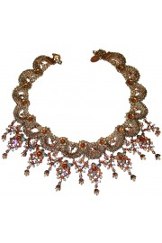 Michal Negrin Earth Tones Crystal Lace Choker