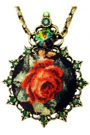 Michal Negrin Green Satin Rose Cameo Necklace