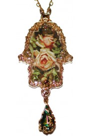 Michal Negrin Gold Plated Antique Roses Hamsa Necklace