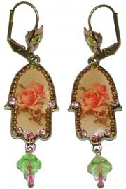 Michal Negrin Vintage Rose Hamsa Earrings