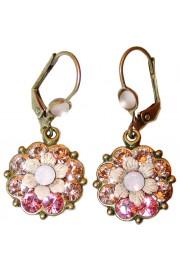 Michal Negrin Pink Peach Crystal Flower Earrings