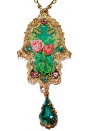 Michal Negrin Gold Plated Roses Hamsa Necklace