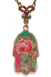 Michal Negrin Gold Plated Rose Hamsa Necklace