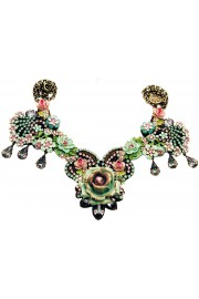 Michal Negrin Pink Green Lilac Rose Garden Necklace