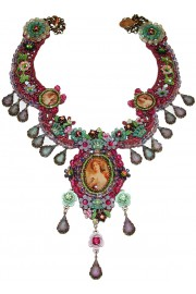 Michal Negrin Purple Woman Cameos Lace Necklace