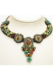 Michal Negrin Multicolor Flowers Cameos Necklace