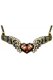 Michal Negrin Peach Winged Heart Necklace