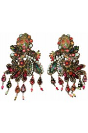 Michal Negrin Multicolor Cameo Lace Earrings
