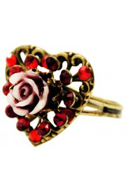 Michal Negrin Red Heart Carved Rose Ring