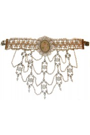 Michal Negrin Pearl Cameo Choker Necklace