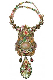 Michal Negrin Pastel Flowers Cameo Prism Necklace