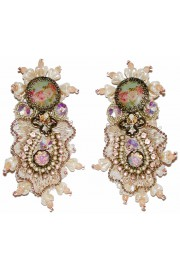 Michal Negrin Vintage Style Cameo Lace Clip Earrings