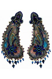 Michal Negrin Blue Scheherazade Clip Earrings