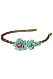 Michal Negrin Green Pink Rose Headband